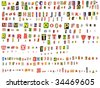 Alphabet newspaper uppercase, lowercase, numbers and symbols cutouts isolated on white. Mix and match to make your own words - stock photo
