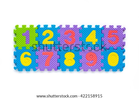 Alphabet numbers for starters learn English. colorful letters toys children. english font jigsaw. - stock photo