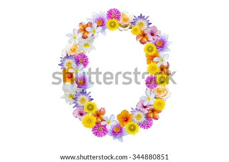 Alphabet O, created by colorful flowers isolated on white background - stock photo