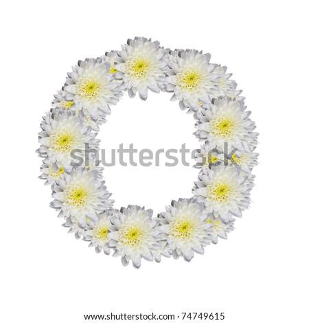 alphabet O , White Flower isolated on white background - stock photo