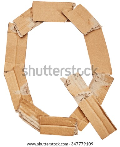 Alphabet of cardboard isolated on white background. Letter Q