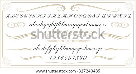 ALPHABET Old handwritten letters and numbers - stock photo