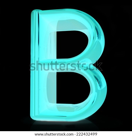 "Alphabet on black background. Letter ""B"" on a black background"