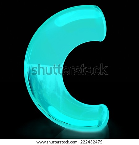 "Alphabet on black background. Letter ""C"" on a black background - stock photo"