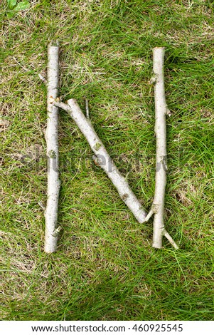 Alphabet on green spring grass made of wooden sticks: letter N