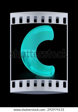 "Alphabet on white background. Letter ""C"" on a black background. The film strip - stock photo"