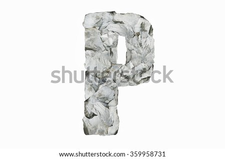 Alphabet P, created by a group of stone isolated on white background