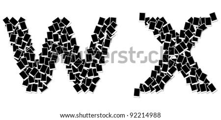 alphabet photo frame on white background W X - stock photo