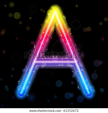Alphabet Rainbow Lights  Glitter with Sparkles - stock photo