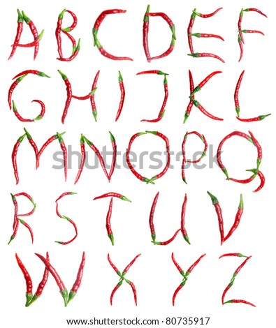 alphabet, red hot chilli peppers - stock photo