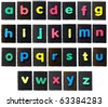 alphabet, rubber letters on textured background isolated on white - stock photo