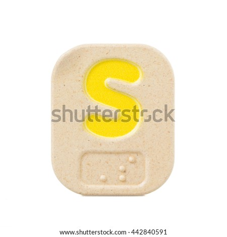 alphabet S on white background  with Braille. - stock photo
