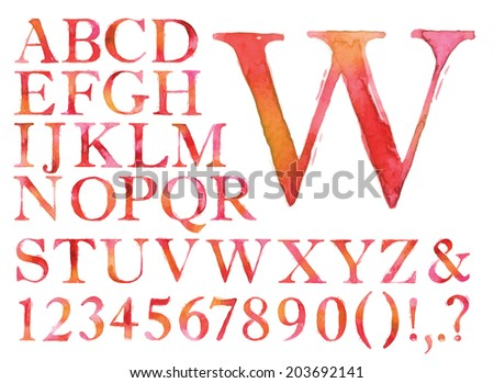 Alphabet set drawn watercolor blots and stains with a spray red color. - stock photo