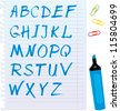 Alphabet set - letters are made of blue marker. Raster version - stock vector