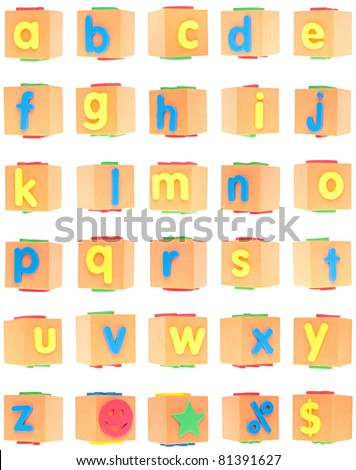 Alphabet Set on Foam Blocks Isolated on White with a Clipping Path. - stock photo