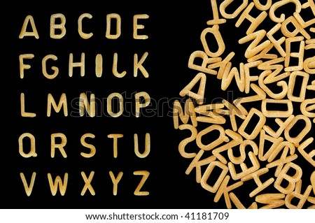 Alphabet soup pasta font. Letters made from kids food. - stock photo