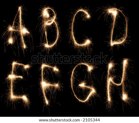 alphabet sparkler (see other letters in my portfolio) - stock photo