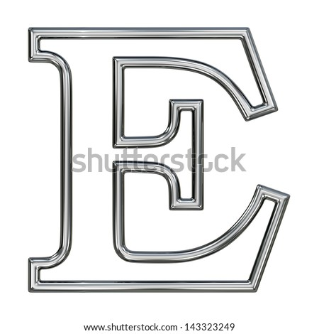 alphabet symbol E with chrome pipe outline - stock photo