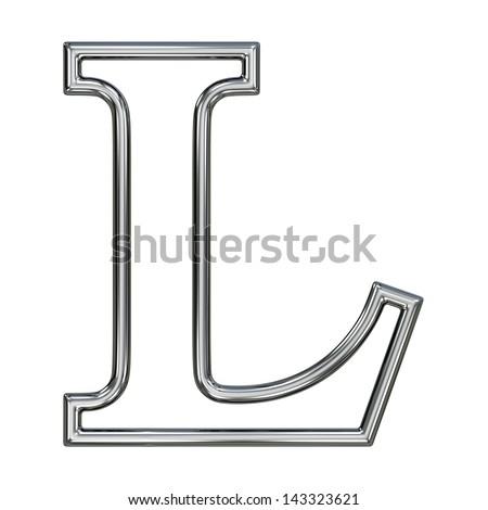 alphabet symbol L with chrome pipe outline - stock photo