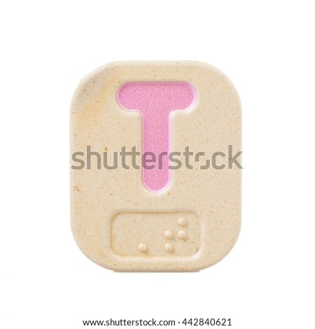 alphabet T on white background  with Braille. - stock photo