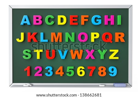 Alphabet Toy magnetic letters over blackboard on a white background - stock photo