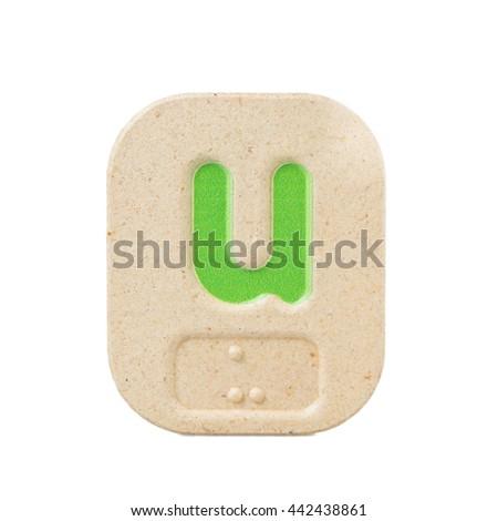 alphabet u on white background  with Braille. - stock photo