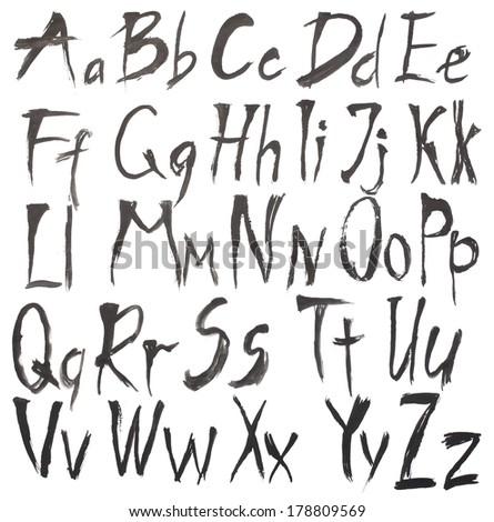 Alphabet watercolors isolated on white - stock photo