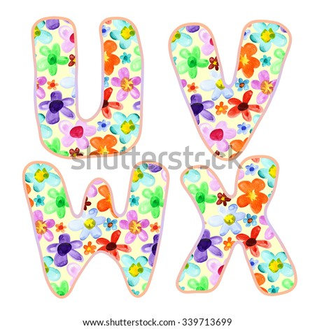 Alphabet with colorful watercolor flower pattern. Letters U, V, W, X - stock photo