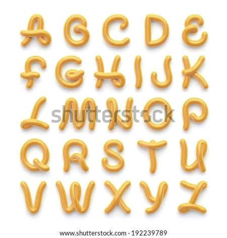 Alphabet with letters made of spicy mustard - stock photo