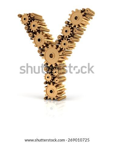 Alphabet Y formed by metallic golden gears, 3d render - stock photo