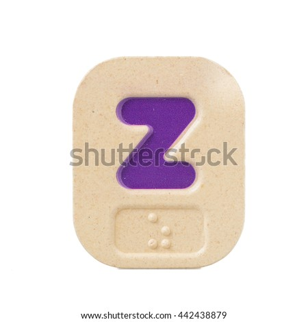 alphabet z on white background  with Braille. - stock photo