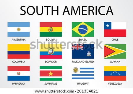 Alphabetical Country Flags for the Continent of