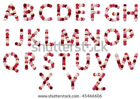 alphabetical letter flowers - stock photo