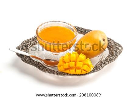 Alphonso Mango cut slice and juice - stock photo