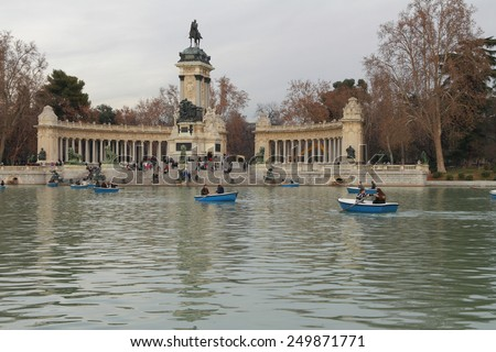 Alphonso XII monument in Retiro park. Madrid, Spain