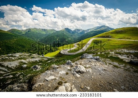 Alpina road at summer-Nockalmstrasse, Nockberge, Carinthia, Austria.  - stock photo
