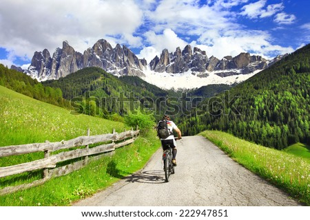 Alpine activities - Dolomites, north of Italy - stock photo