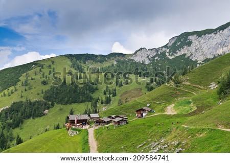 Alpine cabin of Dalfaz Alm in the Rofan mountains, Maurach - Achensee region, Tyrol, Austria - stock photo