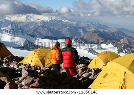 Alpine climbers acclimating at camp two of Aconcagua - stock photo