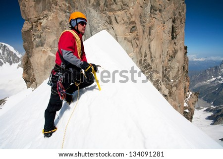 Alpine climbing in Haute Savoie, Dent du Geant, France, Europe - stock photo