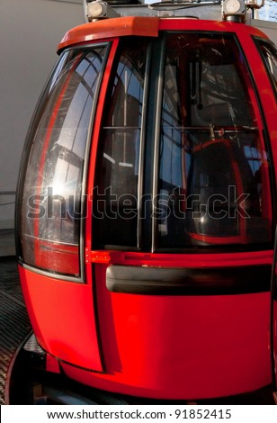 Alpine closed red cable car  in station - stock photo