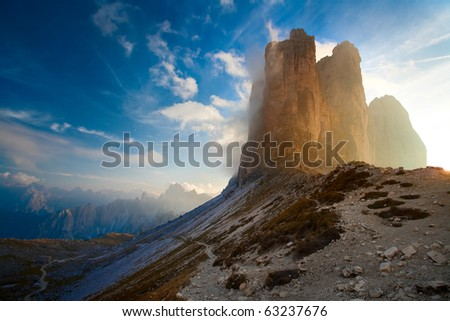 alpine dolomiti Italy Tre Cime mountain - stock photo
