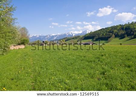 alpine farm land in austria - stock photo