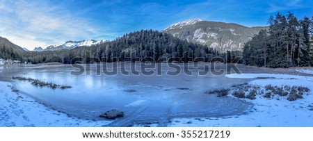 Alpine frozen lake  Winter landscape with a frozen lake and the Austrian Alps in background. Image taken near the village Biberwier, from the district Reutte, Austria.