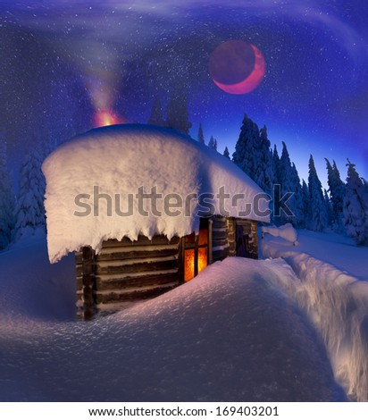 Alpine hut in the wild forests, shelter for the brave and experienced travelers who go to celebrate the New Year in the city of Gorgan, where there is no civilization, but there is a beauty of nature - stock photo
