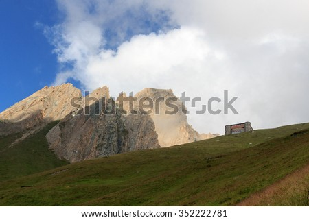 Alpine hut Sajathutte and mountain Rote Saule in the Alps, Austria - stock photo
