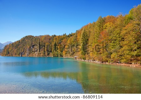 Alpine lake in the autumn