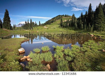 Alpine Lake Mount Rainier - stock photo