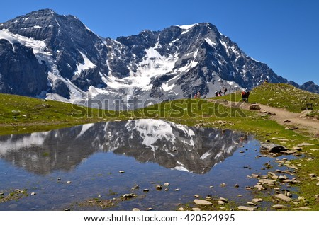 Alpine lake on the Ortles Massif, in South Tyrol, Italy - stock photo