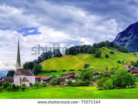 Alpine landscape in Austria near Innsbruck - stock photo